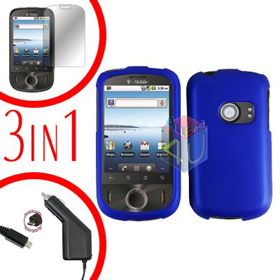 For Huawei Ideos U8150 Screen +Car Charger +Hard Case Rubberized Blue 3-in-1