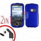 For Huawei Ideos U8150 Car Charger + Cover Hard Case Rubberized Blue 2-in-1