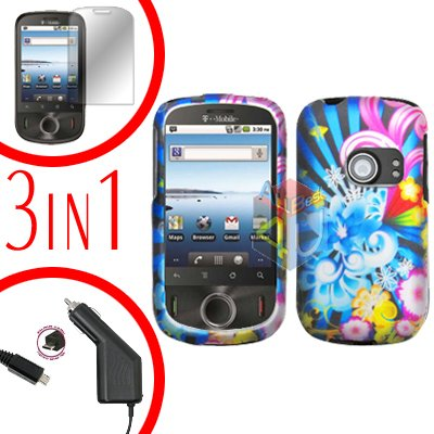 For Huawei Ideos U8150 Screen +Car Charger +Hard Case A-Flower 3-in-1