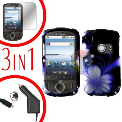 For Huawei Ideos U8150 Screen +Car Charger +Hard Case B-Flower 3-in-1