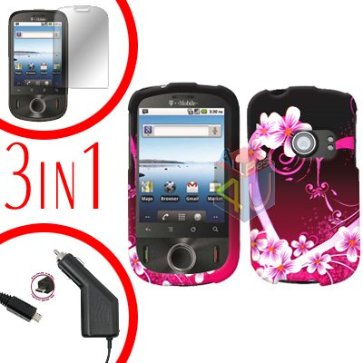 For Huawei Ideos U8150 Screen +Car Charger +Hard Case Love 3-in-1
