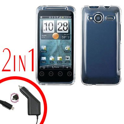 For HTC Evo Shift 4G Car Charger +Cover Hard Case Transparent Clear 2-in-1
