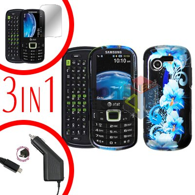 For Samsung Evergreen A667 Screen +Car Charger + Hard Case Flower 3-in-1