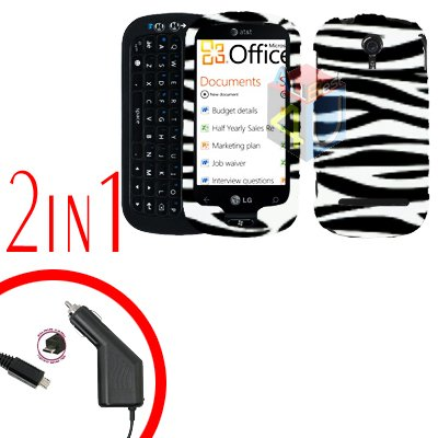 For LG Quantum C900 Car Charger +Cover Hard Case Zebra 2-in-1