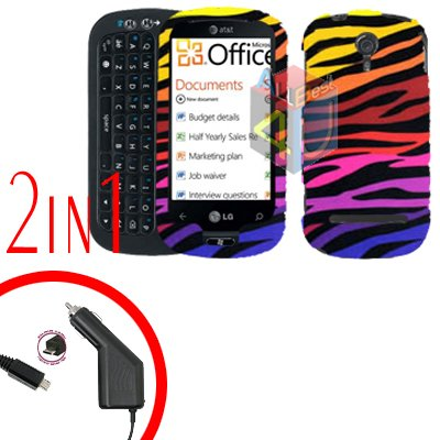 For LG Quantum C900 Car Charger +Cover Hard Case C-Zebra 2-in-1