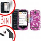 For LG Quantum C900 Screen +Car Charger + Hard Case P-Flower 3-in-1