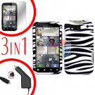 For Motorola Defy MB525 Screen +Car Charger +Cover Hard Case Zebra 3-in-1