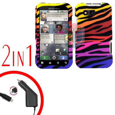 For Motorola Defy MB525 Car Charger + Cover Hard Case C-Zebra 2-in-1