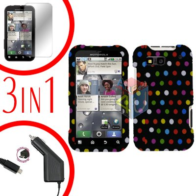 For Motorola Defy MB525 Screen +Car Charger +Cover Hard Case R-Dot 3-in-1