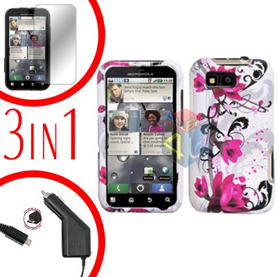 For Motorola Defy MB525 Screen +Car Charger +Cover Hard Case W-Flower 3-in-1