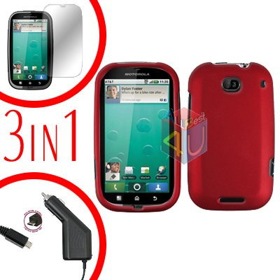 For Motorola Bravo MB520 Screen +Car Charger +Cover Hard Case Rubberized Red 3-in-1