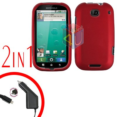 For Motorola Bravo MB520 Car Charger + Cover Hard Case Rubberized Red 2-in-1