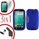 For Motorola Bravo MB520 Screen +Car Charger +Cover Hard Case Rubberized Blue 3-in-1