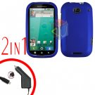 For Motorola Bravo MB520 Car Charger + Cover Hard Case Rubberized Blue 2-in-1