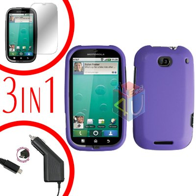 For Motorola Bravo MB520 Screen +Car Charger +Cover Hard Case Rubberized Purple 3-in-1