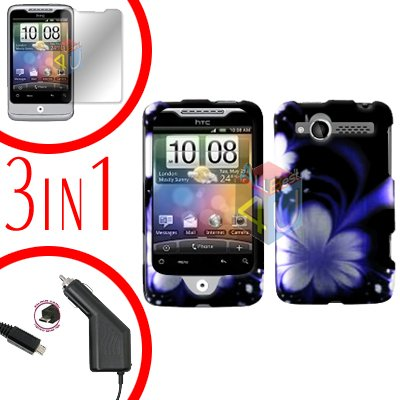For HTC Wildfire 6225 Screen +Car Charger +Cover Hard Case B-Flower 3-in-1