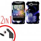 For HTC Wildfire Car Charger +Cover Hard Case B-Flower 2-in-1