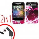 For HTC Wildfire Car Charger +Cover Hard Case Love 2-in-1