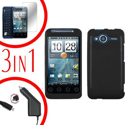 For HTC Evo Shift 4G Screen +Car Charger +Cover Hard Case Rubberized Black 3-in-1