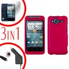 For HTC Evo Shift 4G Screen +Car Charger +Cover Hard Case Rubberized Rose Pink 3-in-1