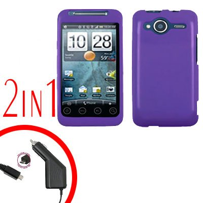 For HTC Evo Shift 4G Car Charger +Cover Hard Case Rubberized Purple 2-in-1