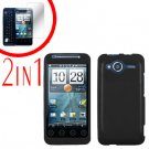 For HTC Evo Shift 4G Screen Protector + Cover Hard Case Rubberized Black 2-in-1