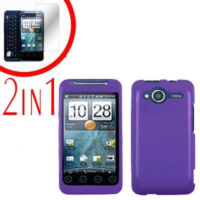 For HTC Evo Shift 4G Screen Protector + Cover Hard Case Rubberized Purple 2-in-1