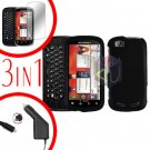 For Motorola Cliq 2 MB611 Screen +Car Charger +Cover Hard Case Rubberized Black 3-in-1