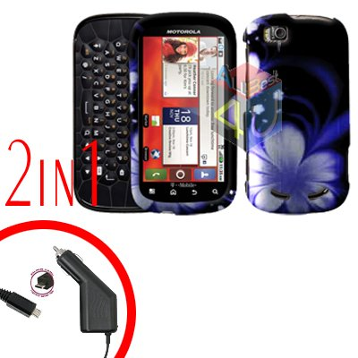 For Motorola Cliq 2 MB611 Car Charger + Cover Hard Case B-Flower 2-in-1