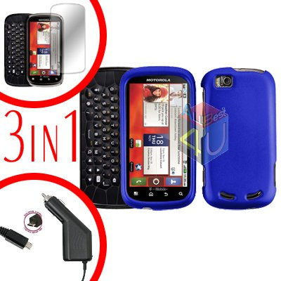 For Motorola Cliq 2 MB611 Screen +Car Charger +Cover Hard Case Rubberized Blue 3-in-1