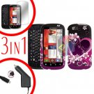 For Motorola Cliq 2 MB611 Screen +Car Charger +Cover Hard Case Rubberized Love 3-in-1