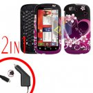 For Motorola Cliq 2 MB611 Car Charger + Cover Hard Case Love 2-in-1