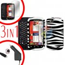 For Motorola Cliq 2 MB611 Screen +Car Charger +Cover Hard Case Rubberized Zebra 3-in-1