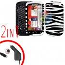 For Motorola Cliq 2 MB611 Car Charger + Cover Hard Case Zebra 2-in-1