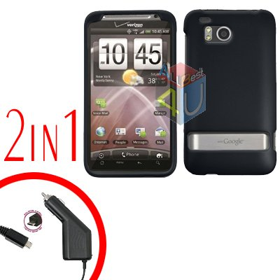 For HTC ThunderBolt Car Charger +Cover Hard Case Rubberized Black 2-in-1