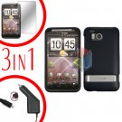 For HTC ThunderBolt  Protector Screen +Car Charger +Cover Hard Case Rubberized Black 3-in-1