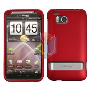 For HTC ThundBolt Cover Hard Phone  Case Rubberized Red