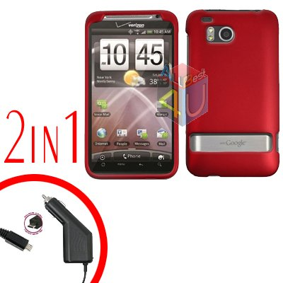 For HTC ThunderBolt Car Charger +Cover Hard Case Rubberized Red 2-in-1