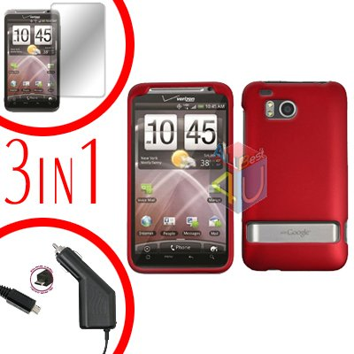 For HTC ThunderBolt  Protector Screen +Car Charger +Cover Hard Case Rubberized Red 3-in-1