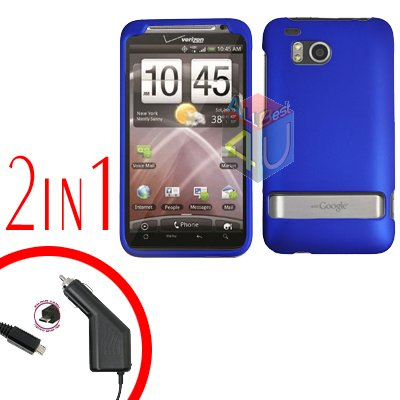 For HTC ThunderBolt Car Charger +Cover Hard Case Rubberized Blue 2-in-1