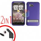 For HTC ThunderBolt Car Charger +Cover Hard Case Rubberized Purple 2-in-1