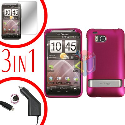 For HTC ThunderBolt  Protector Screen +Car Charger +Cover Hard Case Rubberized Rose Pink 3-in-1