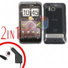For HTC ThunderBolt Car Charger +Cover Hard Case Transparent Clear 2-in-1
