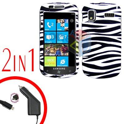 For Samsung Focus i917 Car Charger +Cover Hard Case Zebra 2-in-1