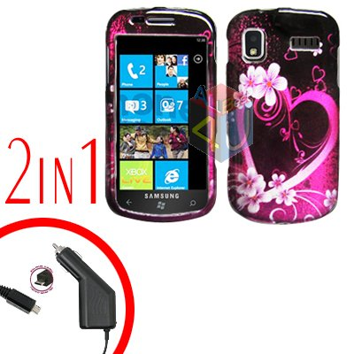 For Samsung Focus i917 Car Charger +Cover Hard Case Love 2-in-1