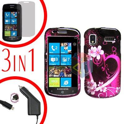 For Samsung Focus i917 Screen +Car Charger + Hard Case Love 3-in-1
