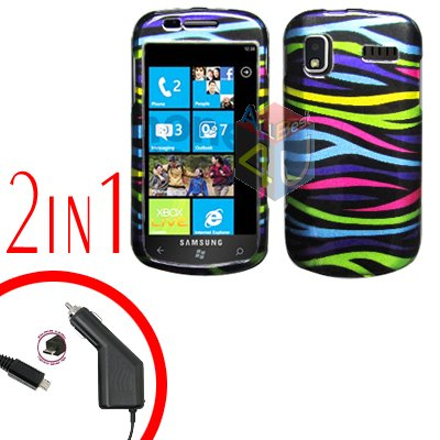 For Samsung Focus i917 Car Charger +Cover Hard Case Rainbow 2-in-1