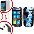 For Samsung Focus i917 Screen +Car Charger + Hard Case Flower 3-in-1