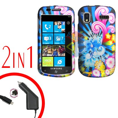 For Samsung Focus i917 Car Charger +Cover Hard Case A-Flower 2-in-1