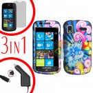 For Samsung Focus i917 Screen +Car Charger + Hard Case A-Flower 3-in-1
